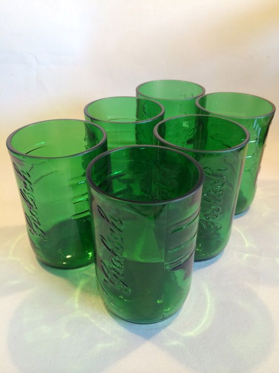 Grolsch Beer glasses set of 2 by CupcycleGlassWorks on Etsy