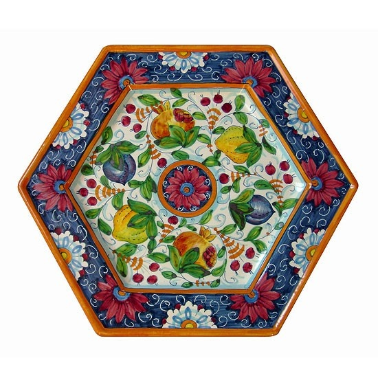 exagonal plate Veneto patter 16 inch, made in Italy  http://www.artesiaceramica.it/ceramiche-en-589-exagonal-plate.html