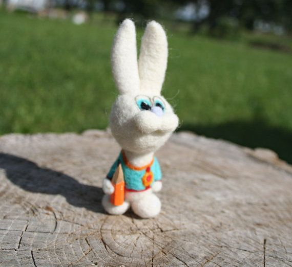 Felted bunny     back to school    miniature rabbit  by vilnone
