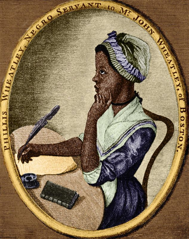 1773 - PHILLIS WHEATLEY - LITERATURE ---The first known African American woman published. --- African-American poet: 1753 - December 5, 1784. As illustrated by Scipio Moorhead on the front page of her book 'Poems on Various Subjects'. (Culture Club/Getty Images)