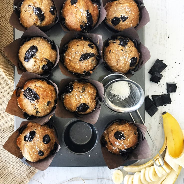 Easy Mix & Bake Nut-free Choc Banana & Coconut Muffins – Gourmet Casa Kitchen