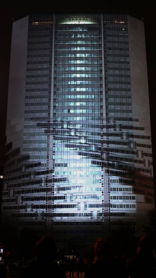 Recipient.cc for adidas Boost @ Grattacielo Pirelli - Projection Mapping, 2013 by recipient. Pirelli Tower, historic symbol of Milan and milestone in contemporary architecture, for the first time ever has been the stage of a projection mapping.