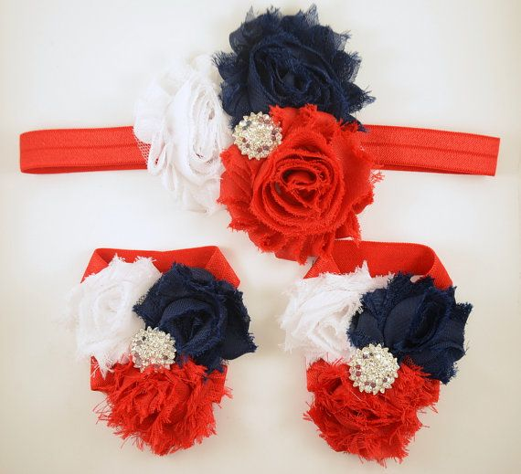 4th of July - Red White and Blue Headband and Barefoot Sandal Set - Fourth of July - Baby Headband - Barefoot Baby Sandals
