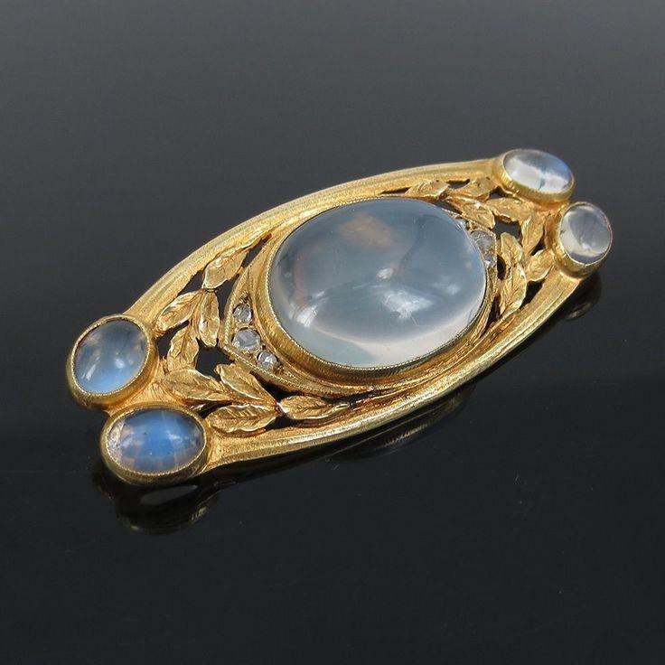Art Nouveau American Rose Cut Diamond & Moonstone 14K Yellow Gold Brooch Pin #goldbrooches