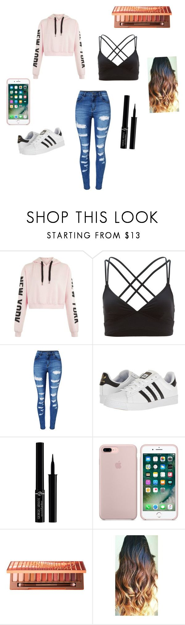 """""""New York"""" by butterflycupcake420 ❤ liked on Polyvore featuring TYR, WithChic, adidas, Giorgio Armani and Urban Decay"""
