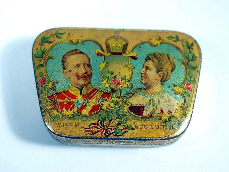 patriotische SCHNUPFTABAKDOSE AUTOMATENDOSE Hartwig Vogel Wilhelm II. + Augusta