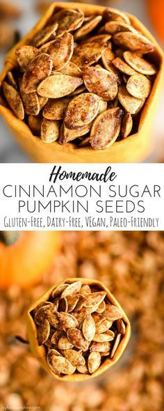 Homemade Cinnamon Sugar Pumpkin Seeds Recipe! Don't throw away the seeds when you carve pumpkins this year! Save them and make this recipe for the perfect sweet and salty fall snack! Vegan, gluten-free and dairy-free! and paleo-friendly!