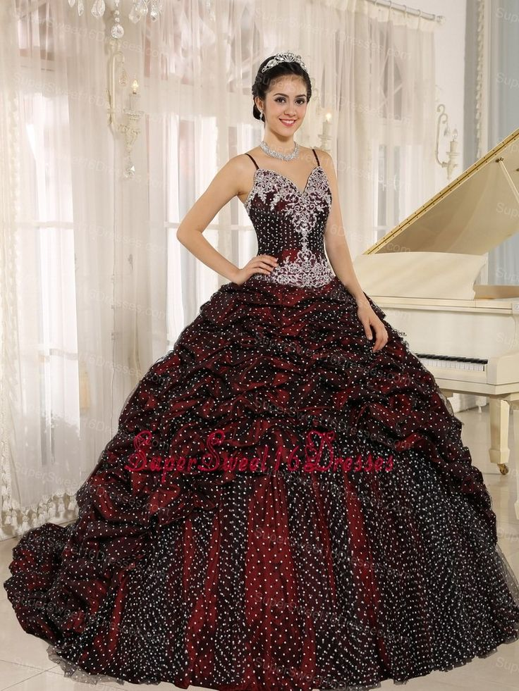 Special Fabric Pick-ups Spagetti Straps Appliques Decorate Sweet 16 Gowns In Mar del Plata