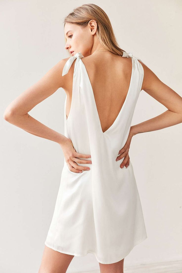 Kimchi Blue Tie-Shoulder Silky Mini Dress - Urban Outfitters