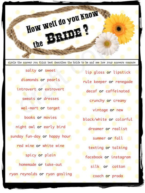 Country Style Wedding Shower Game -Instant Download