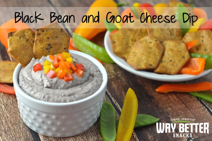 This tangy, tasty black bean and goat cheese dip will get your tastebuds jumping! Perfect with Way Better Snacks Black Bean and Salsa sprouted barley crackers.