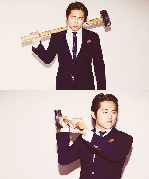 Steven Yeun, way better with a sledge hammer than Miley.