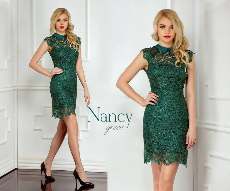 Short evening lace dress with sequins embroidery and satin collar: https://missgrey.org/en/dresses/short-lace-dress-with-sequins-embroidery-green-nancy/514?utm_campaign=martie&utm_medium=nancy_verde&utm_source=pinterest_produs
