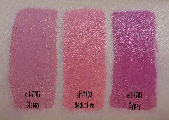 e.l.f Lipstick Swatches: elf Lipstick Review: e.l.f. Cosmetics: elf lipsticks reviews: lips: lipsticks