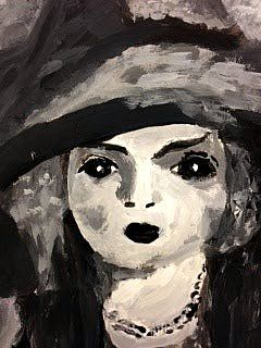 Painted Portraits Show Contrast and Value! Gr. 9 Students worked from reproductions of portraits by master artists because the objective of this lesson was for students to carefully observe, locate and apply the many value changes in each image.