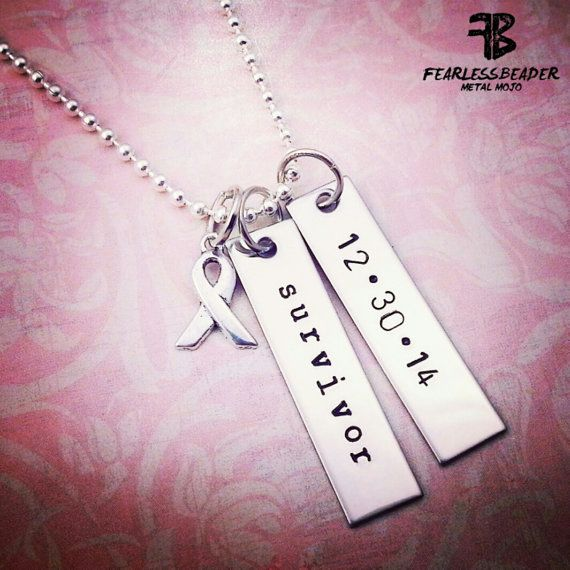 The Survivor Necklace makes a great gift for the FEARLESS man or woman in your life who has battled cancer and SURVIVED! My METAL MOJO is meant to empower the person wearing it -- especially during those times in life when you need a reminder that you are strong, determined, and will never give up! This listing is for 1 Survivor Necklace with 2 hand-stamped silver bars and a silver awareness ribbon charm. A beautiful celebratory keepsake for a SURVIVOR to wear a significant date...