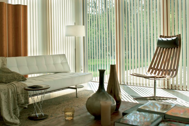 Save $55* on average on Luxaflex Vertical Blinds. LUXAFLEX® Vertical Blinds control heat and light in a sleek, modern design, which incorporates the Ultimate Track System. Vertical Blinds are available in translucent and block-out fabrics in a huge variety of colours. Luxaflex Vertical Blinds add a fresh new dimension to a traditional window fashion.