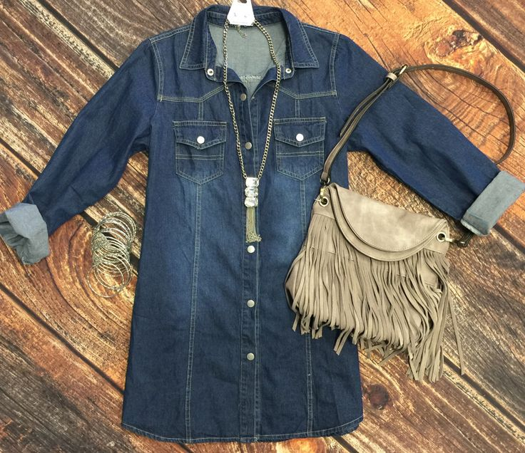 Come Along Denim Dress can be worn as long sleeve or roll the sleeves up as…