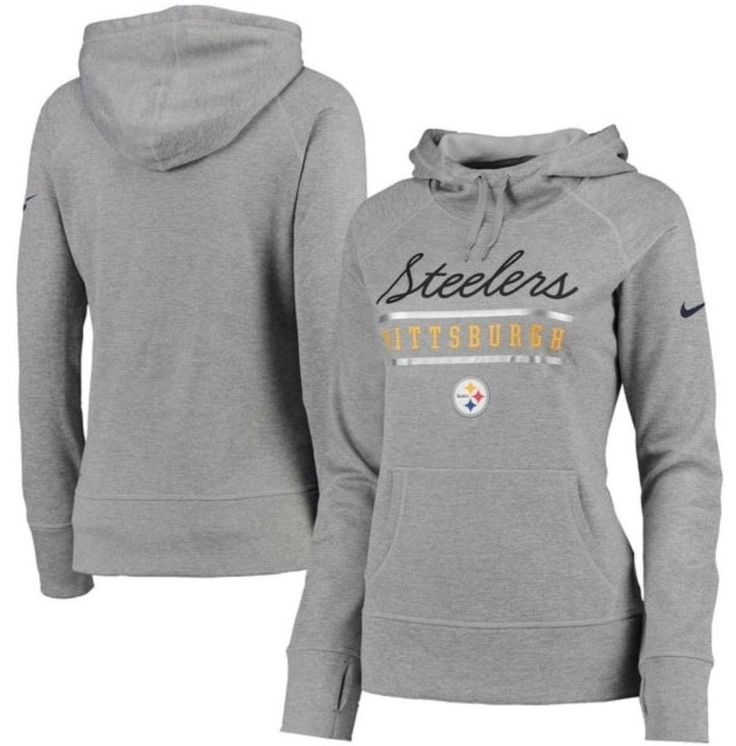 Pittsburgh Steelers Nike Therma-Fit Women's L Cold Weather QS Script Hoodie $70 #Nike #PittsburghSteelers