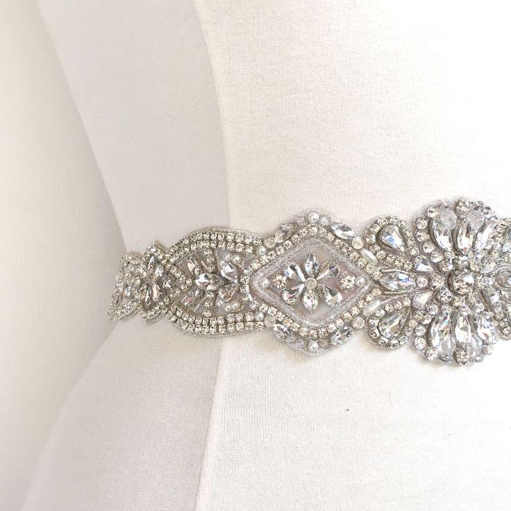 Crystal Rhinestone Bridal Belt on Satin Sash - Wide Bridal Sash - Large Rhinestone Belt Applique Pearl- Silver Wedding Accessories- B104 by BridalBeltsandSashes on Etsy https://www.etsy.com/listing/507886684/crystal-rhinestone-bridal-belt-on-satin