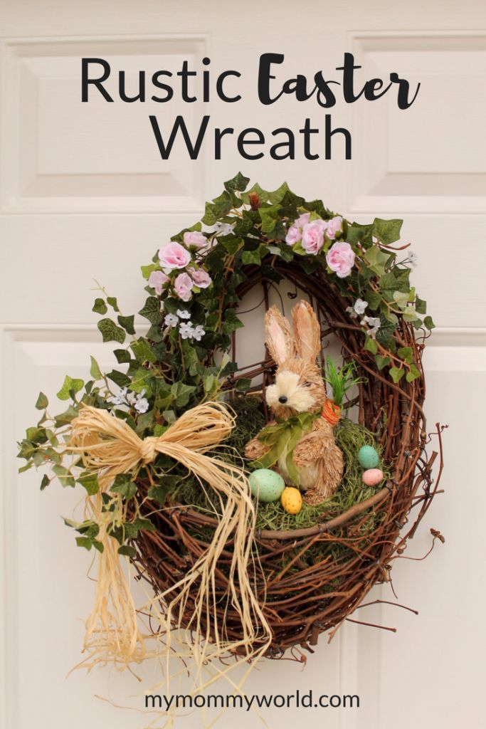This Rustic Easter Wreath is not only an easy Easter wreath to make, but it's also so pretty and festive. It comes together in just minutes with a few supplies. You'll never look for any more Easter wreaths for the front door after making this! #easter #easterdecor #wreath