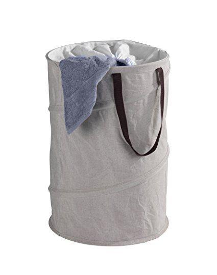 Wenko 62051100 Pop-Up Wäschesammler Jumper, Wäschekorb, Fassungsvermögen 75 L, Kunststoff - Polyester, 40 x 60 x 40 cm, braun