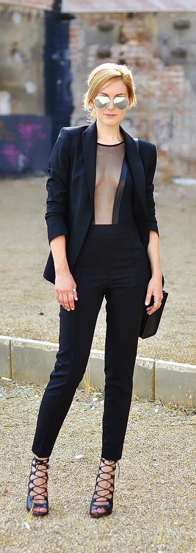 Stlye Me Hip: Classic Black Blazer with High Waist Pant and Lace...