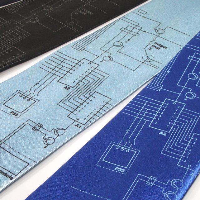 Mens Tie - Electronica - silk necktie in four tie colour choices £14.95