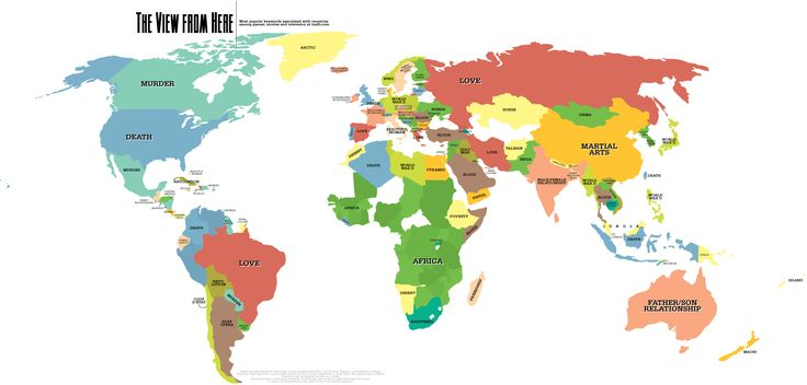 Very Interesting world map... Strange to think the US is death and Brazil is Love. The most popular keywords associated with countries among games, movies, and television at imdb.com.