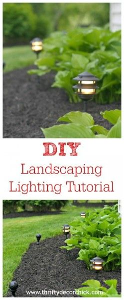 Sarah from Thrifty Decor Chick​ is sharing all the secrets on easy and inexpensive DIY landscape lighting. More at www.thriftydecorchick.com