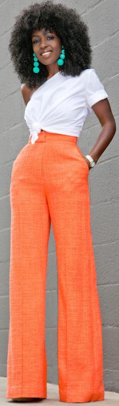 One Shoulder Cotton Top + High Waist Trousers // Fashion Look by Style Pantry