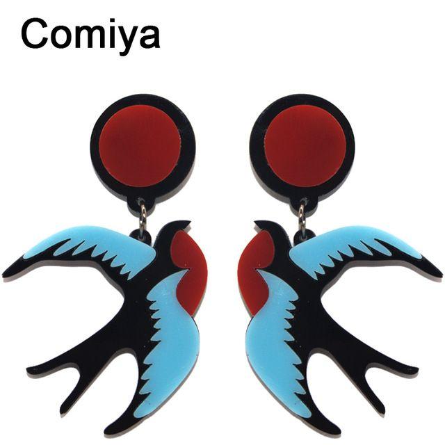 Comiya дизайн моды ласточка серьги личности серьги для женщин прекрасные птицы модные серьги ювелирных изделий партии украшения