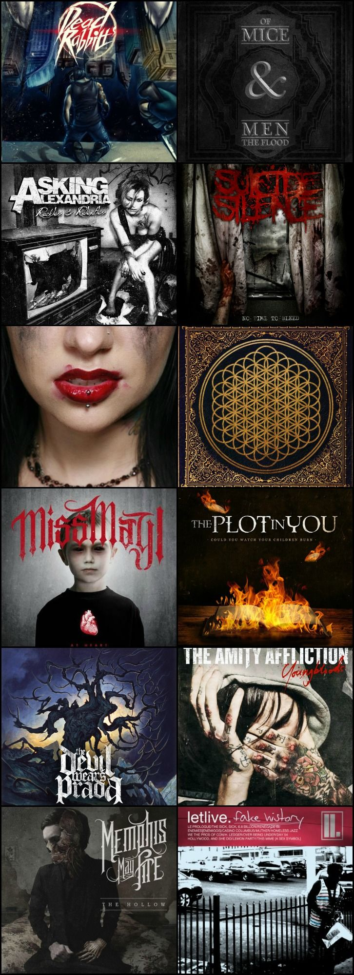 Dead Rabbits, Of Mice & Men, Asking Alexandria, Suicide Silence, Escape The Fate, Bring Me The Horizon, Miss May I, The Plot In You, The Devil Wears Prada, The Family Affliction, Memphis May Fire and Letlive