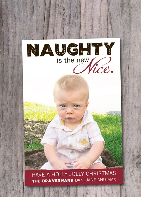 Modern Holiday Card Funny Christmas Card Naughty by PinchOfSpice,