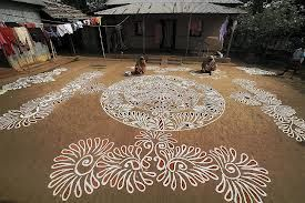 Bengali alpana-rural village decorations during celebrations