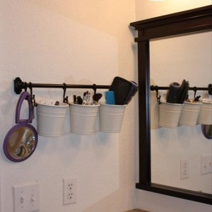 Great idea beside the sink where space is usually wasted anyway. Perfect for small bathrooms.
