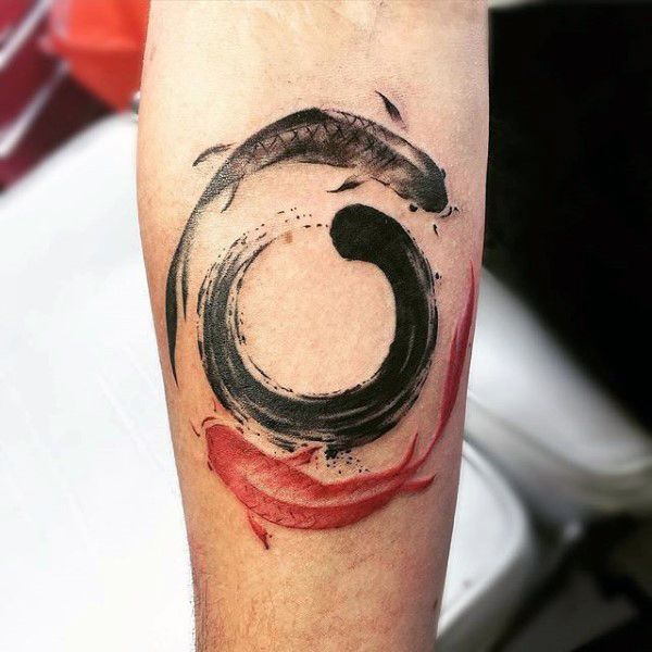Black And Red Koi Fish Enso Guys Inner Forearm Tattoo