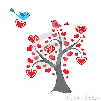 Árbol y pájaros de los corazones