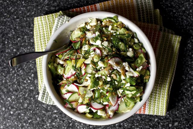 feta, lime, mint and sunflower seeds by smitten, via Flickr