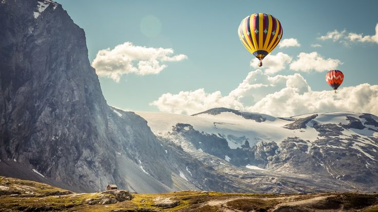 Исландия, Хваннадальсхнукюр, воздушные шары, горы, небо, Iceland, Hvannadalshnjúkur, ballons, mountains, sky