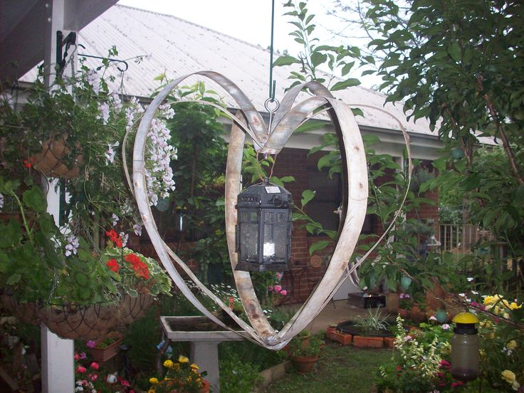 hanging hearts - made from recycle wine barrel rings