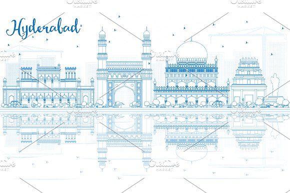 #Outline #Hyderabad #Skyline by Igor Sorokin on @creativemarket