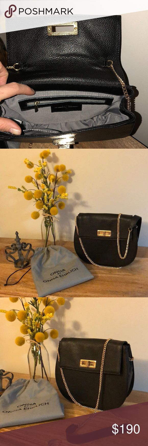Black Leather Crossbody Shoulder Bag Leather and Gold Accent Crossbody Shoulder Bag By: Onna Ehrlich New Without Tags Condition Super Cute for a Night Out Bag Love the Chain link Strap Absolutely Flawless Onna Ehrlich Bags Crossbody Bags