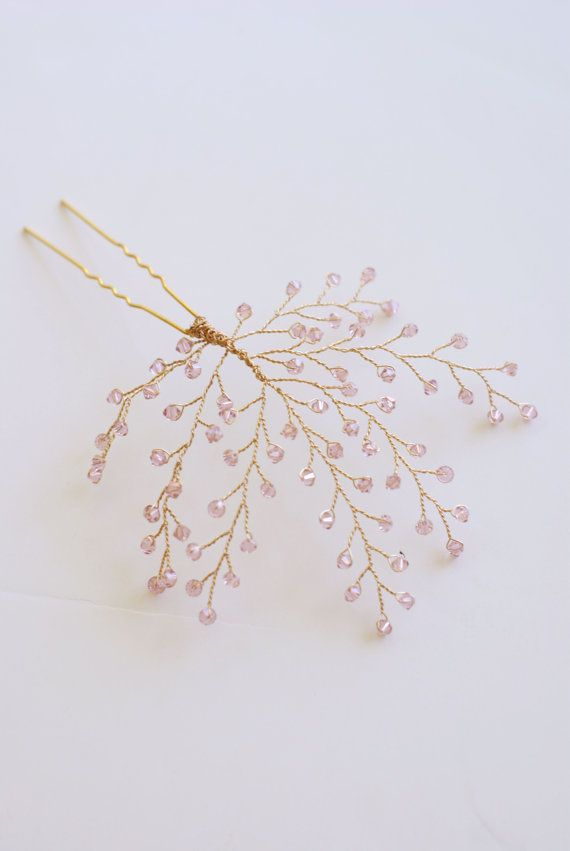 Bridal Headpiece Blush Pink Crystal Twigs by MelindaRoseDesign