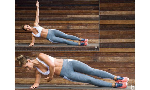 a. De lado, com o antebraço direito apoiado no chão, o braço esquerdo estendido para o alto e as pernas estendidas e unidas. Os quadris ficam fora do chão, a cabeça, alinhada com o pescoço, e o corpo formando uma linha reta dos tornozelos aos ombros.   b. Gire o tronco ligeiramente para a frente, passando o braço por baixo do corpo, e volte. Michelle faz 3 séries de 10 a 15 repetições de cada lado.