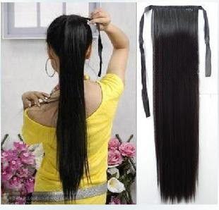 Человек настоящие волосы horseshoers 100 Дж косичка хвост прямые волосы черные