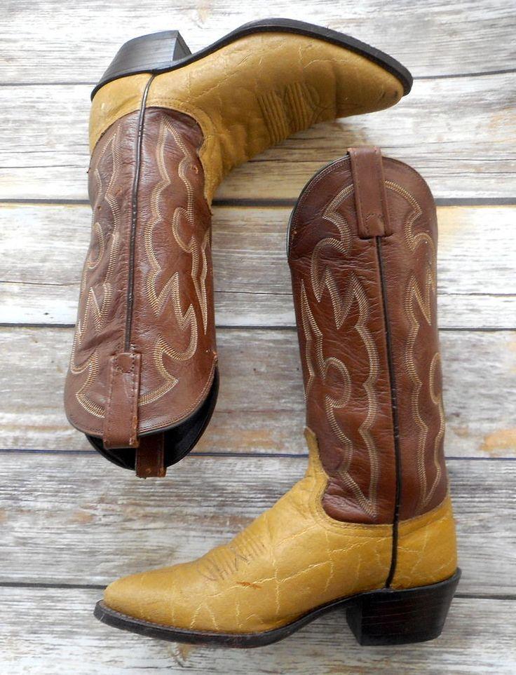 Mens 7 D Cowboy Boots Vintage Dan Post Brown Yellow Retro Western Womens 8.5  #DanPost #CowboyWestern