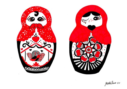 Babushka dolls. Was inspired by another illustrator, but I forgot her name.