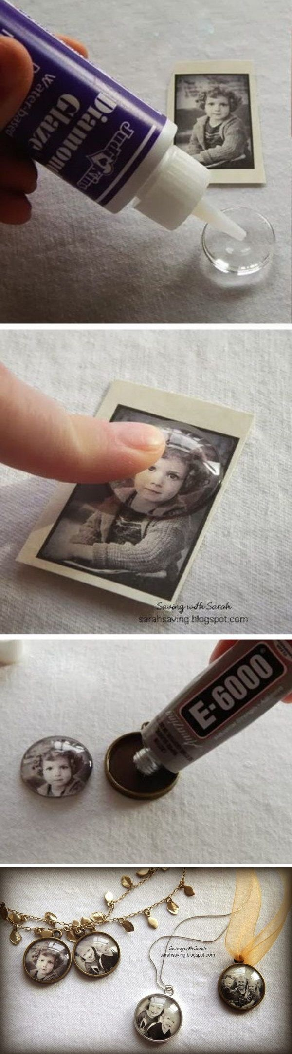 DIY Photo Pendants. These photo pendants are actually really cheap (less than $2.50 each). Would be so fun to use vacation photos from WDW