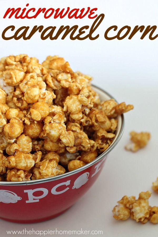 Easy Microwave Caramel Corn via The Happier Homemaker >> #WorldMarket Popcorn Recipes